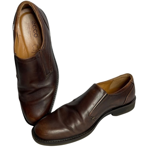ecco Brown Slip On Loafers Soft Leather Biarritz